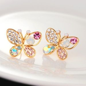 NEW multi color gold plated butterfly stud earring